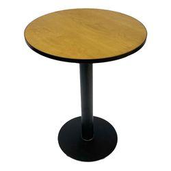 Bàn cafe tròn mặt gỗ viền sắt chân trụ tròn CFD68090