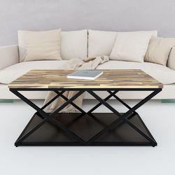 Bàn sofa 2 tầng mặt gỗ tràm khung sắt X TT68150