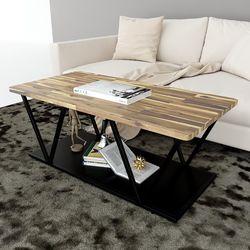 Bàn sofa 2 tầng mặt gỗ tràm khung sắt sơn tĩnh điện TT68154