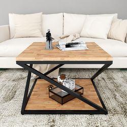 Bàn sofa 2 tầng gỗ cao su khung sắt TT68156