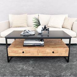Bàn sofa 2 tầng có ngăn kéo gỗ cao su TT68140