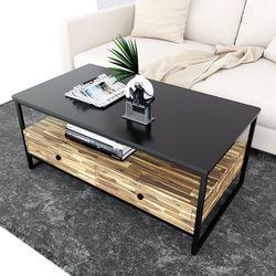 Bàn sofa 2 tầng có ngăn kéo gỗ tràm TT68144