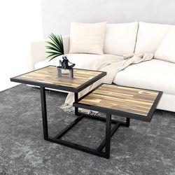 Bàn sofa 2 tầng gỗ tràm khung sắt TT68143