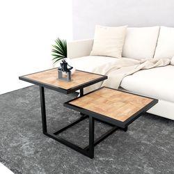 Bàn sofa 2 tầng mặt gỗ khung sắt TT68141
