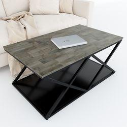 Bàn sofa 2 tầng khung sắt X gỗ cao su TT68149