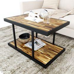 Bàn sofa 2 tầng gỗ tràm khung sắt TT68139