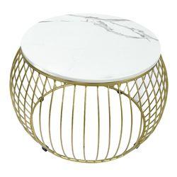 Bàn sofa tròn mặt đá trắng khung màu vàng đồng TT68137