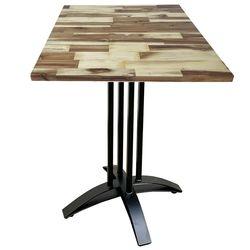 Bàn cafe gỗ tràm dày 25mm chân sắt chữ thập cong CFD68082