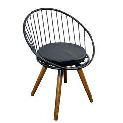 Ghế cafe chân gỗ lưng sắt có đệm GCF059