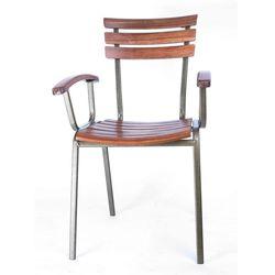 Ghế Cafe ngoài trời khung sắt lưng gỗ có tay Moon GCF056