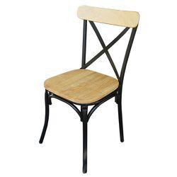 Ghế cafe, ghế nhà hàng có tựa lưng khung sắt gỗ cao su GBC68033