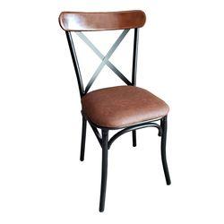 Ghế cafe, ghế ăn khung sắt lưng gỗ nệm màu nâu GSK002