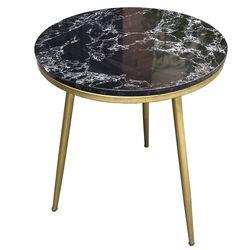 Bàn bên sofa tròn mặt đá đen khung sắt sơn màu vàng đồng SST001