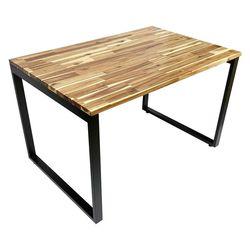 Bàn ăn DINO 120x80cm gỗ tràm chân sắt lắp ráp BA68070