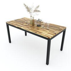 Bàn ăn Umaru gỗ tràm chân sắt vuông BA68061