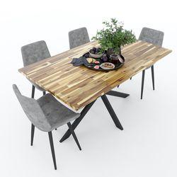 Bàn ăn KANE 01 gỗ tràm chân sắt độc đáo BA68065