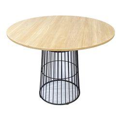 Bàn ăn tròn 1m CUBE 02 mặt gỗ Plywood chân sắt BA68071