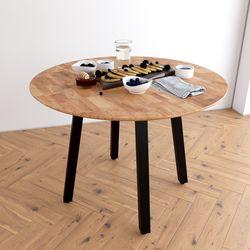 Bàn ăn tròn 1m Gerda gỗ cao su nhiều màu chân sắt vuông BA68047