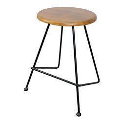 Ghế đôn cafe mặt gỗ tròn chân sắt Lap nhiều màu GCF029