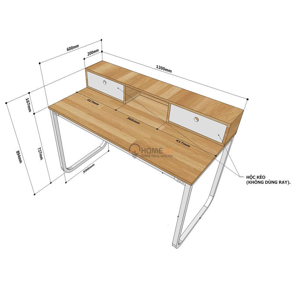 Chi tiết kích thước bàn làm việc 2 hộc kéo tren bàn chân sắt FHome