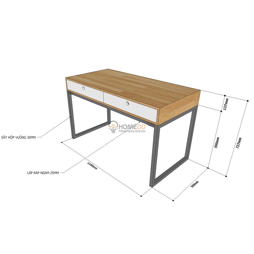 Chi tiết kích thước bàn Fhome 2 hộc kéo FH005