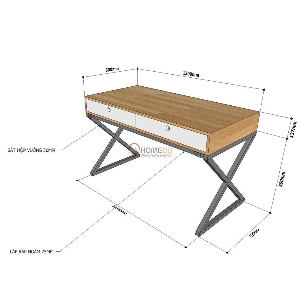 Chi tiết kích thước bàn làm việc 2 học kéo chân chữ X Fhome