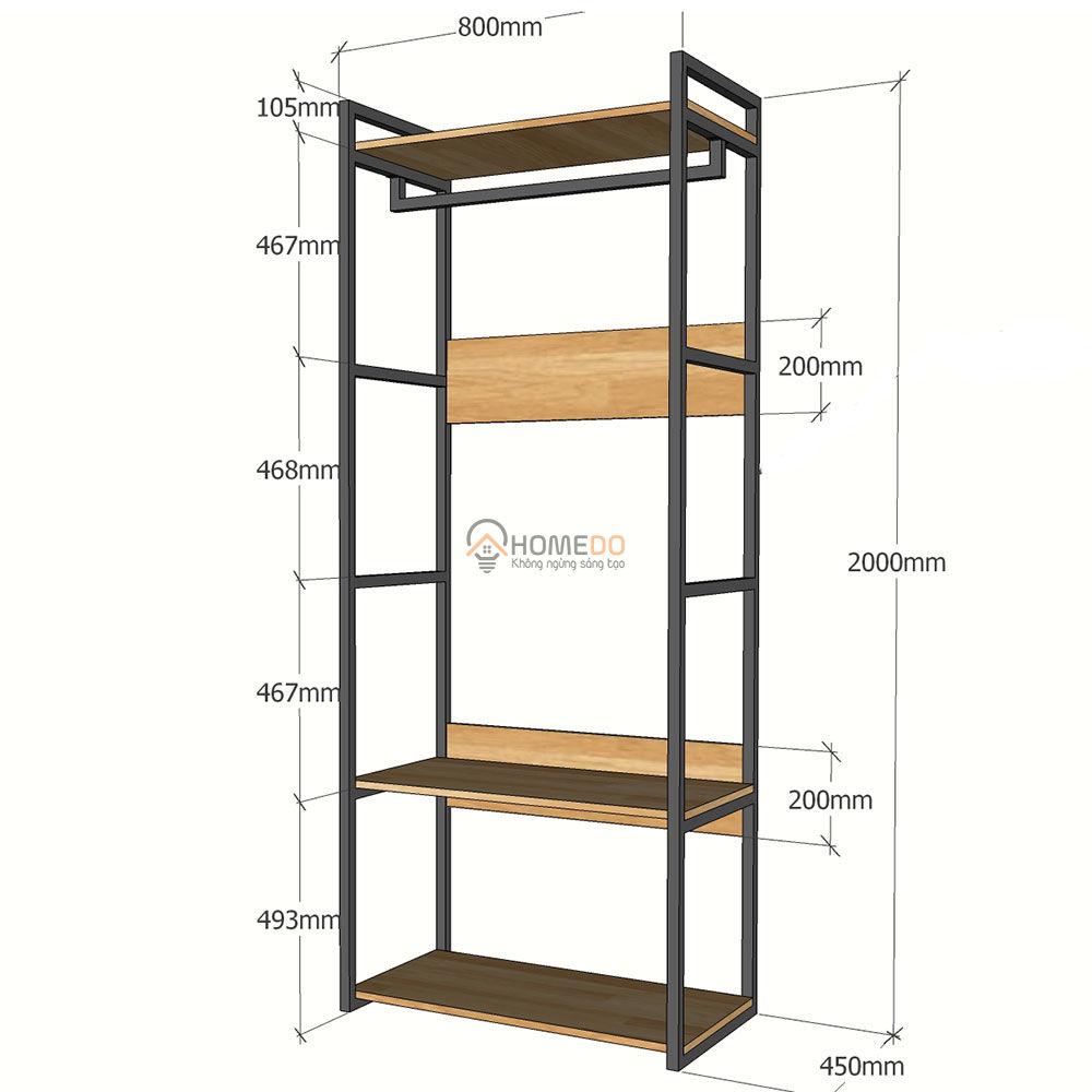 Kệ quần áo gỗ kết hợp khung sắt 80x45x200(cm)