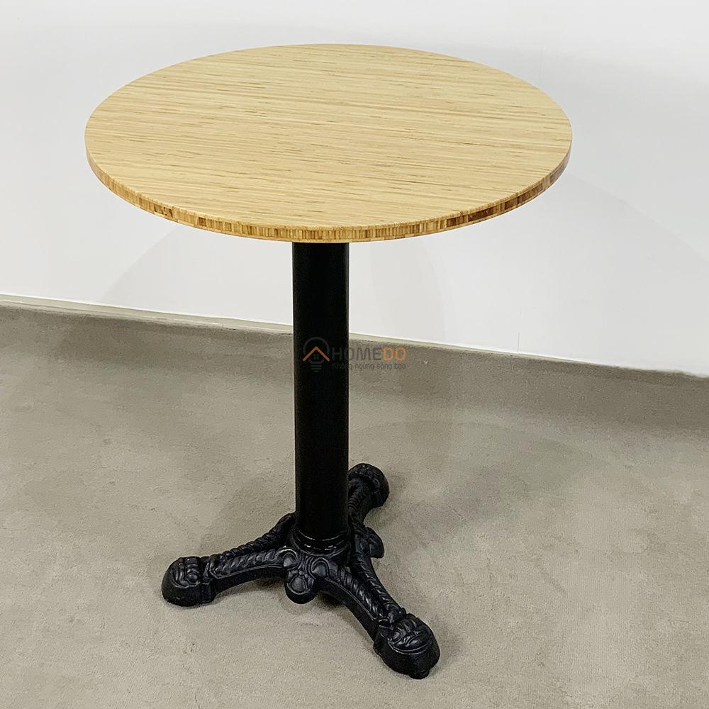 Bàn cafe gỗ TRE ÉP tròn 60cm chân gang đúc 3 chĩa
