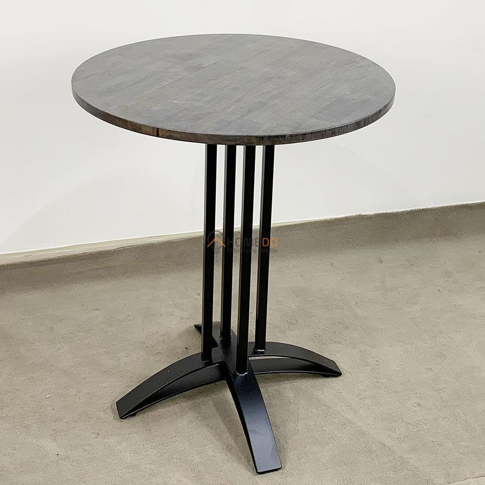 Bàn cafe tròn 60cm gỗ CAO SU chân sắt chữ thập cong