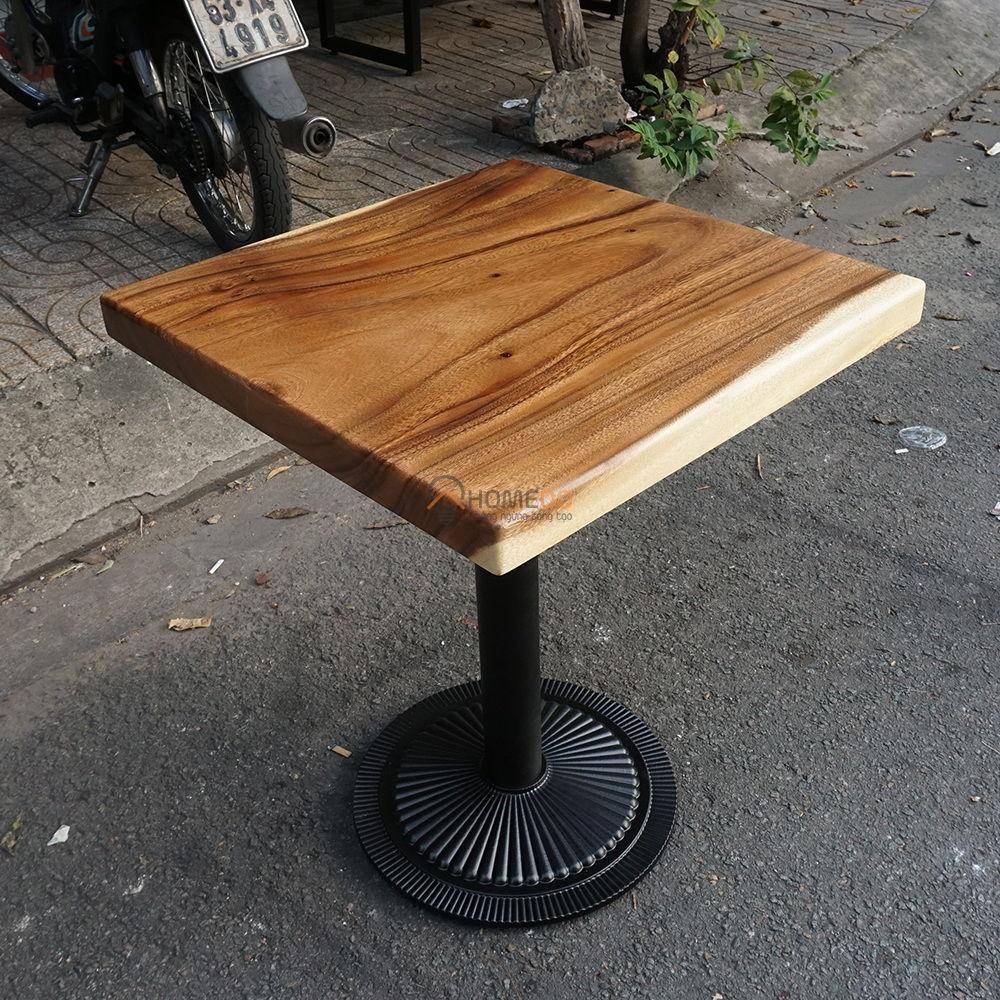 Bàn gỗ me tây dày 5cm chân sắt (60x60x75cm)