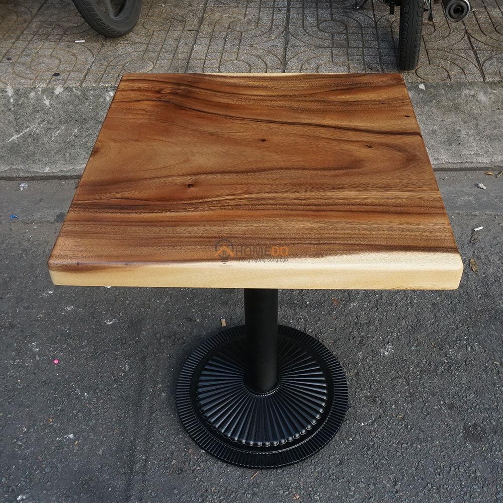 Bàn gỗ me tây dày 5cm chân sắt