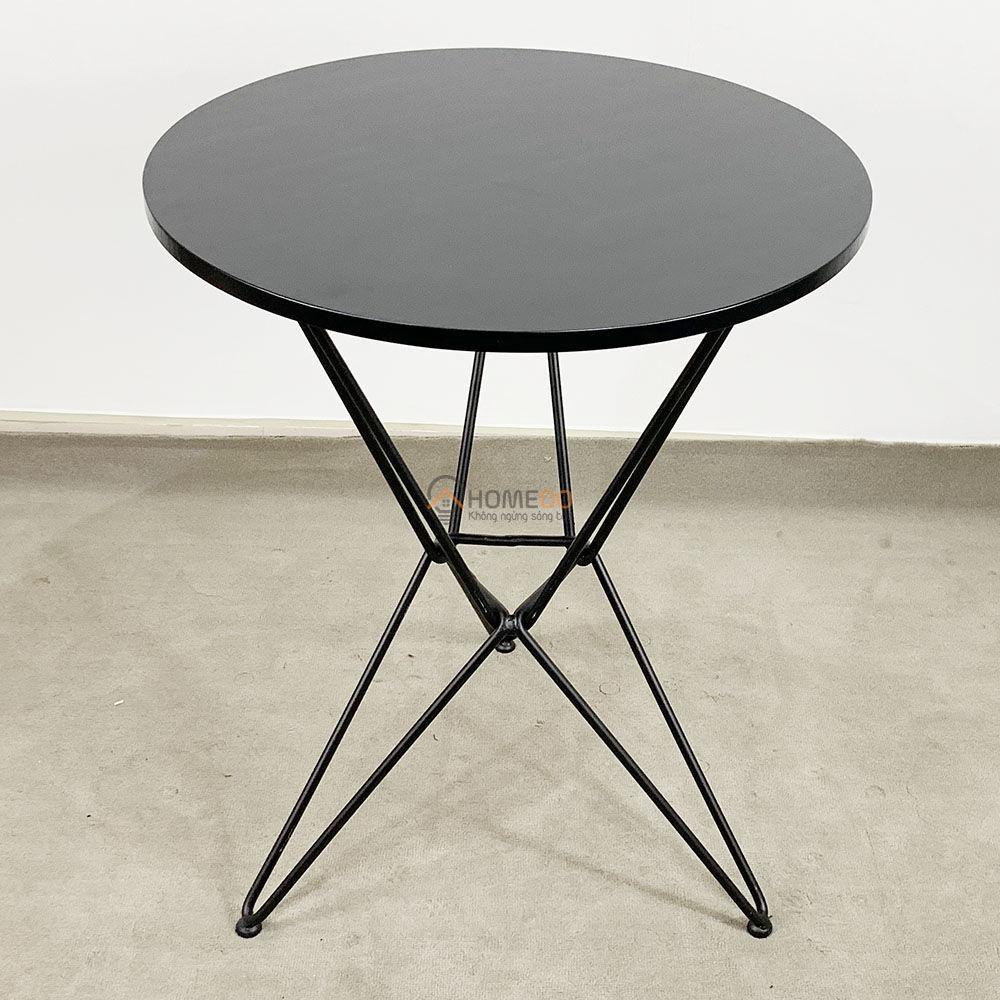 Bàn cafe tròn 60cm Gỗ cao su chân sắt kiểu Hairpin