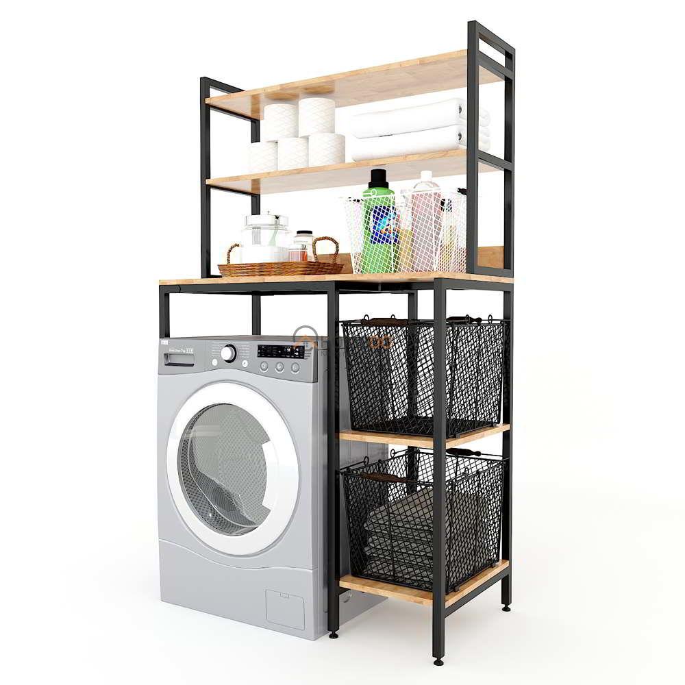 Kệ máy giặt 2 tầng gỗ cao su khung sắt
